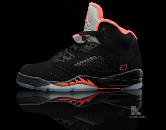 air jordan 5 black and red