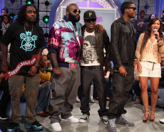 Meek Mill in Air Jordan V Wolf Grey + Wale, Rick Ross On 106 &amp; Park