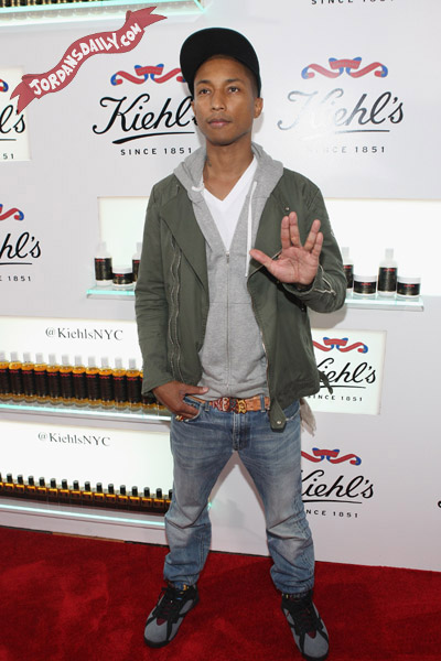 Pharrell Wearing Air Jordan VII Bordeaux (Again) @ Kiehls 160th Anniversary Celebration