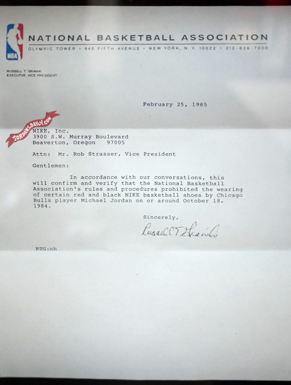 Original NBA Letter to Nike Inc: Air Jordan 1 Banned   Circa 1985