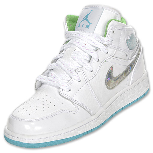 Air Jordan 1 GS: White / Bright Turquoise / Green Quartz