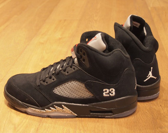 Air Jordan V: Black   Metallic Silver   Available at Nike Harajuku