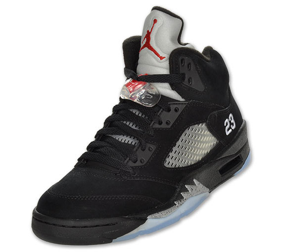 Air Jordan V Black/Metallic Silver Re Stock at Finishline