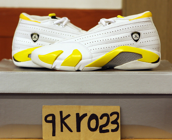 Air Jordan XIV Low: White   Varsity Maize Sample