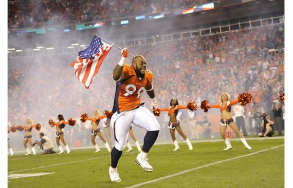 Kevin Vickerson of the Denver Broncos Wears Air Jordan III Cleats