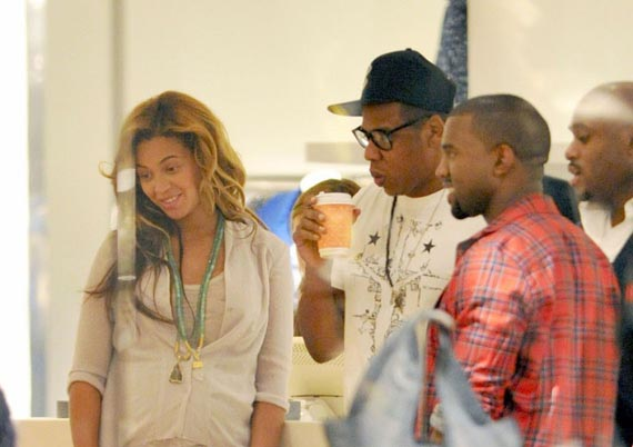 Kanye West and Jay Z Wearing Air Jordans While Shopping