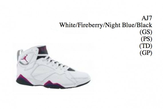 Air Jordan VII GS: White   Fireberry