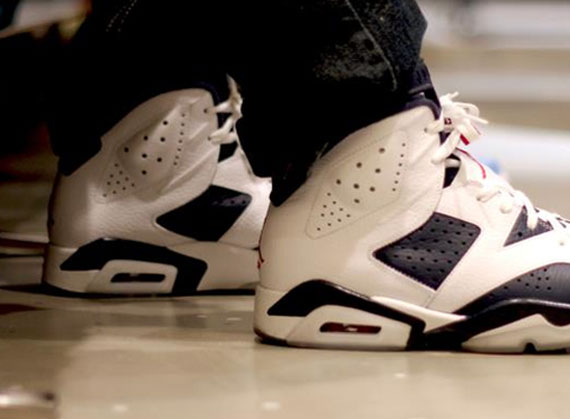 Air Jordan VI Retro: Olympic   On Foot Images