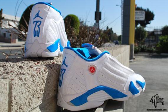 blue and white jordan 14