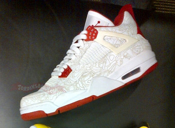 Air Jordan IV  White Red  Laser  Sample - Air Jordans 720238207