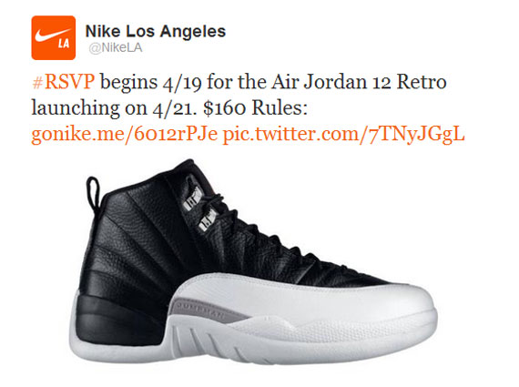 Air Jordan XII Playoffs Is Nikes First Twitter RSVP Release
