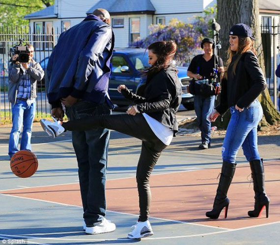 Kim Kardashian in Air Jordan III White/Cement