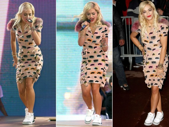 Rita Ora Wears Air Jordan III White/Cement