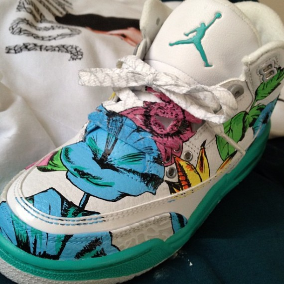 Air Jordan III: Floral Customs by El Cappy