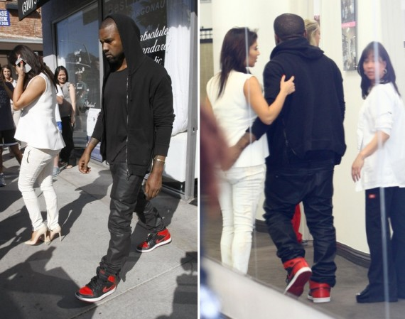 Kanye West Wearing Air Jordan 1 Bred