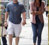 Mark Wahlberg and wife jaywalking in Beverly Hills