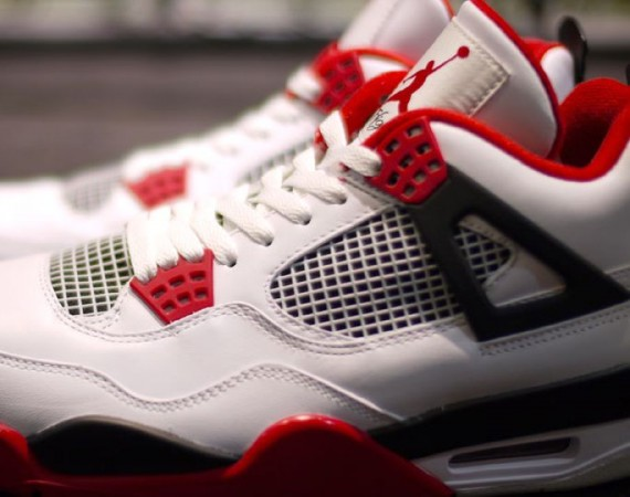 Air Jordan 4: White   Varsity Red   Black
