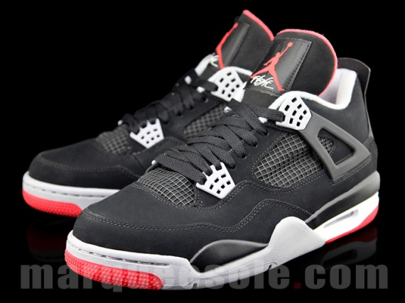Air Jordan IV: Black  Cement Grey  Fire Red