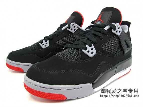 Air Jordan IV GS: Black   Cement Grey   Fire Red