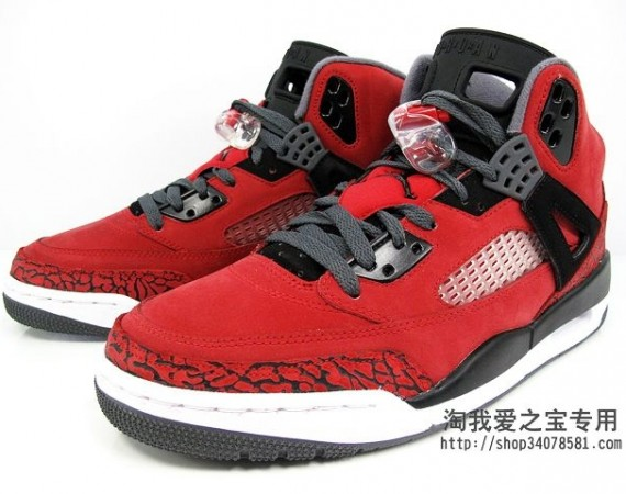 Jordan Spizike GS: Red Suede   Black