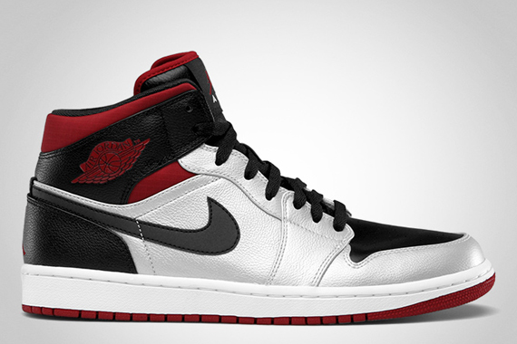Air Jordan 1 Mid: Metallic Platinum – Black – Gym Red