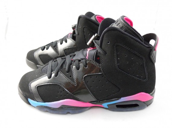Air Jordan 6 GS: Black   Pink Flash   Marina Blue