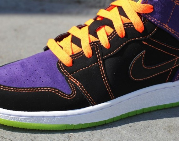 Air Jordan 1 Phat GS: Black – Purple – Orange – Green