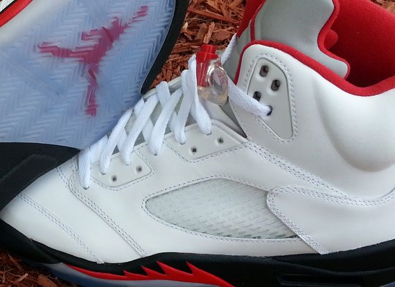 Air Jordan V: White  Fire Red  Black