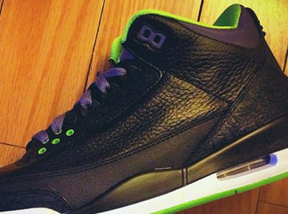 Air Jordan III: Black   Green   Purple