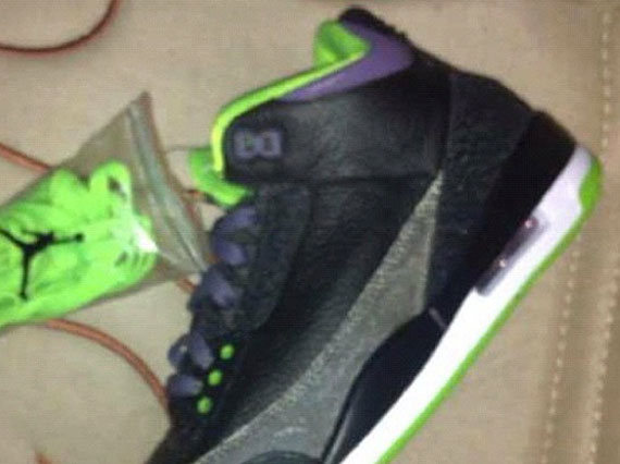 Air Jordan III: Black   Purple   Green