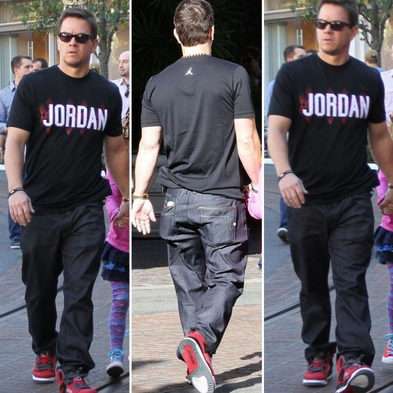 Mark Wahlberg in Jordan Spizike Gym Red