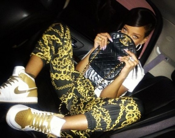 Rihanna Wearing Air Jordan 1 Gold Medal