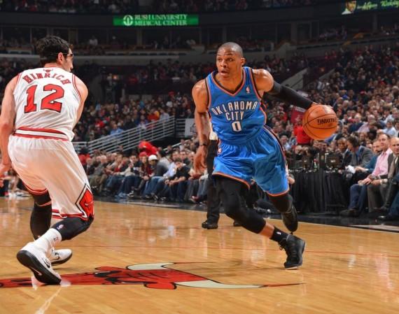 NBA Jordans on Court  Russell Westbrook in Air Jordan X