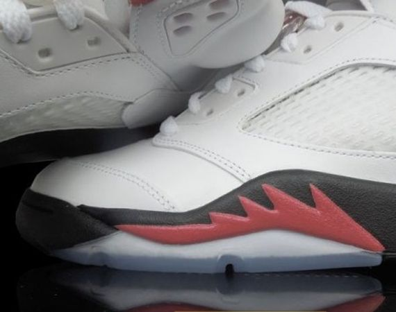 Air Jordan 5: White   Fire Red   Black