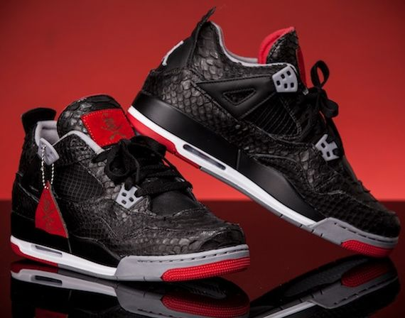 "Air Jordan IV ""Bred Python"" Customs by TheShoeSurgeon"