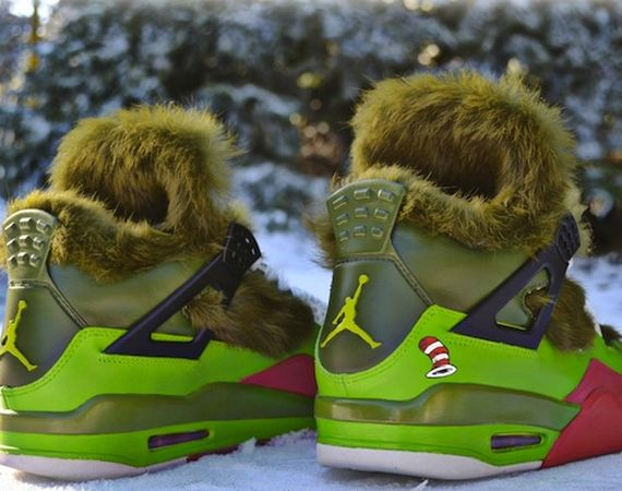 "Air Jordan IV: ""Grinch"" Customs by Freaker Sneaks"