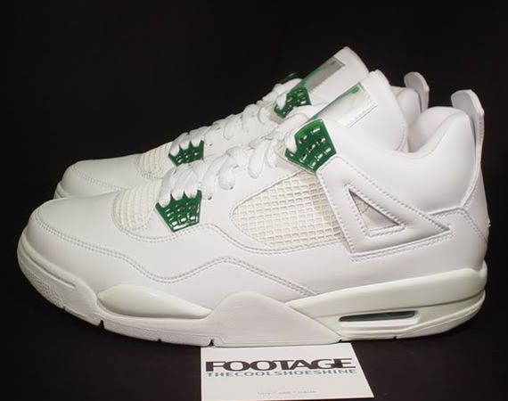 premium selection 633be 4c118 Air Jordan 4 Retro White Chrome Classic Green shoes