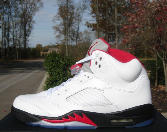 Air Jordan V – White – Fire Red – Black | Available on eBay