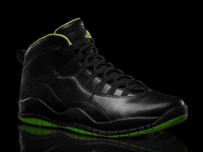 air jordan 10 black and lime green
