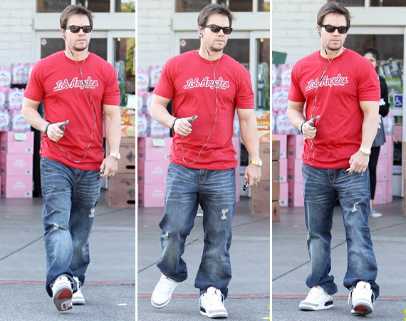 Mark Wahlberg Wearing Air Jordan III White/Cement