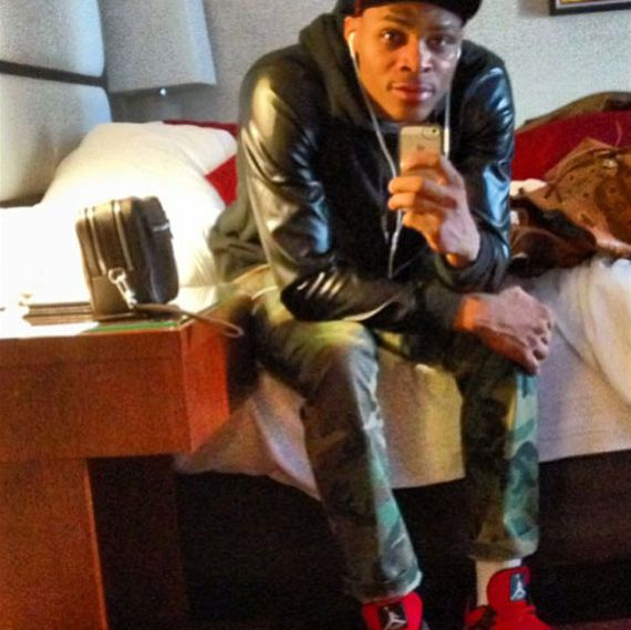 Russell Westbrook Wearing Air Jordan IV Fire Red Suede