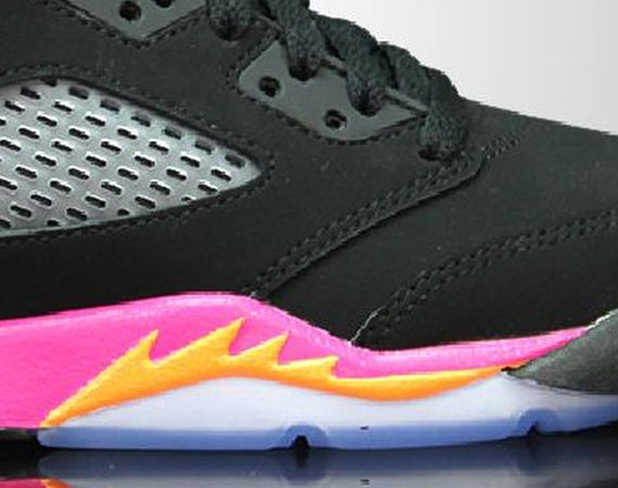Air Jordan V GS: Black   Bright Citrus   Fusion Pink