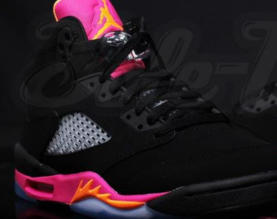Air Jordan V GS: Black   Orange   Pink