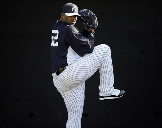 "C.C. Sabathia Wearing Air Jordan XI ""Concord"" Cleats at Spring Training"