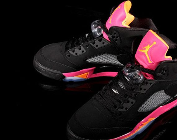 Air Jordan V GS Retro: Black   Bright Citrus   Fusion Pink