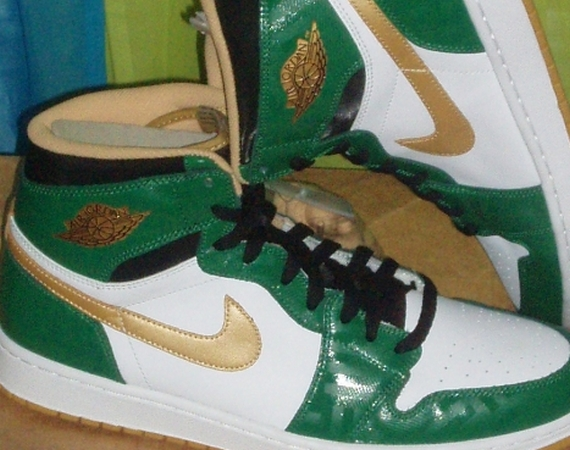 """save off d57bd f70dc The Air Jordan 1 Retro High OG is going green next month via the Air Jordan  1 """"Celtics"""" style shown here. Aside from the clover green and metallic gold  ..."""