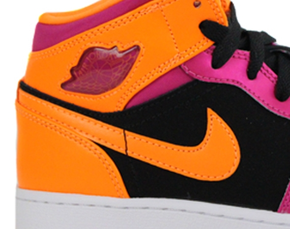 Air Jordan 1 Mid GS: Black – Fusion Pink – Bright Citrus