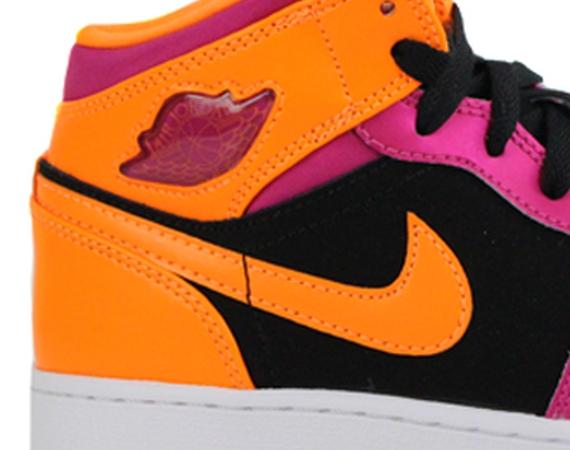 Air Jordan 1 Mid GS: Black – Fusion Pink – Bright Citrus
