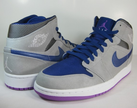 Air Jordan 1 Mid: Matte Silver – Laser Purple – Deep Royal Blue