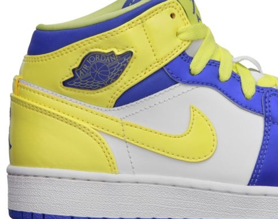Air Jordan 1 GS: White   Violet Force   Electric Yellow